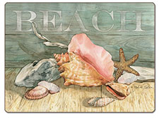 A Coastal Beach Seashells Hardboard Placemat-Set of 2