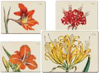 4 CorkBacked Hardboard Table-Placemats Botanical Lilies