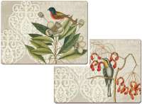 4 CorkBacked Hardboard Table-Placemats Bird Collage
