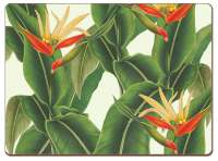* 4 CorkBacked Hardboard Table-Placemats Tropical Leaves