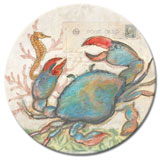 A Glass Lazysusan - Beach/Coastal Seaside/Blue Crab