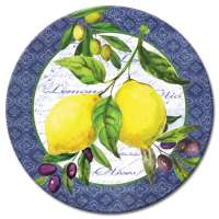 * A Yellow Lemons And Olives Fruit Decor Glass LazySusan Turntab
