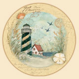 14 inch Beach/Coastal Lighthouse LazySusan - Shore Thing