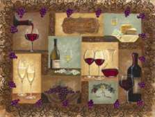 A Wine Cellar Wine Grape Glass Cuttingboard Serving Tray