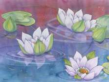 Floral Lake Water Lillies Glass Cuttingboard Serving Tray