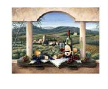 A Tuscan Wine Country Grape Glass Cuttingboard Serving Tray