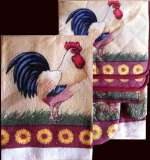 7 pc Country Kitchen Towel-Mitt-Potholder Set - Sunflower-Rooste