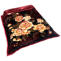 Blanket - Country Flowers Fleece Throw - Burgundy