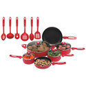 Apple Red 16pc Heavy Cast Aluminum Nonstick Cookware Set