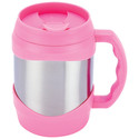 Stainless Steel Pink Trim Oversized Mug